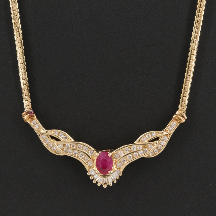 14K Ruby and Diamond Stationary Pendant Necklace