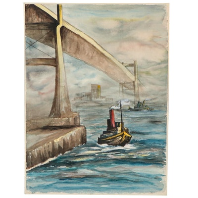 Watercolor Painting of Harbor Scene, Circa 1959