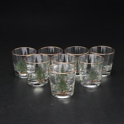 Gold Rimmed Rocks Glasses with Christmas Trees