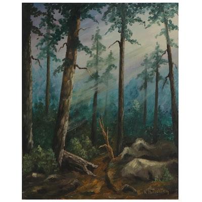 Eva M. Bolton Landscape Oil Painting of Woodland Interior