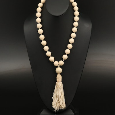 Vintage Celluloid Bead Necklace with Tassel
