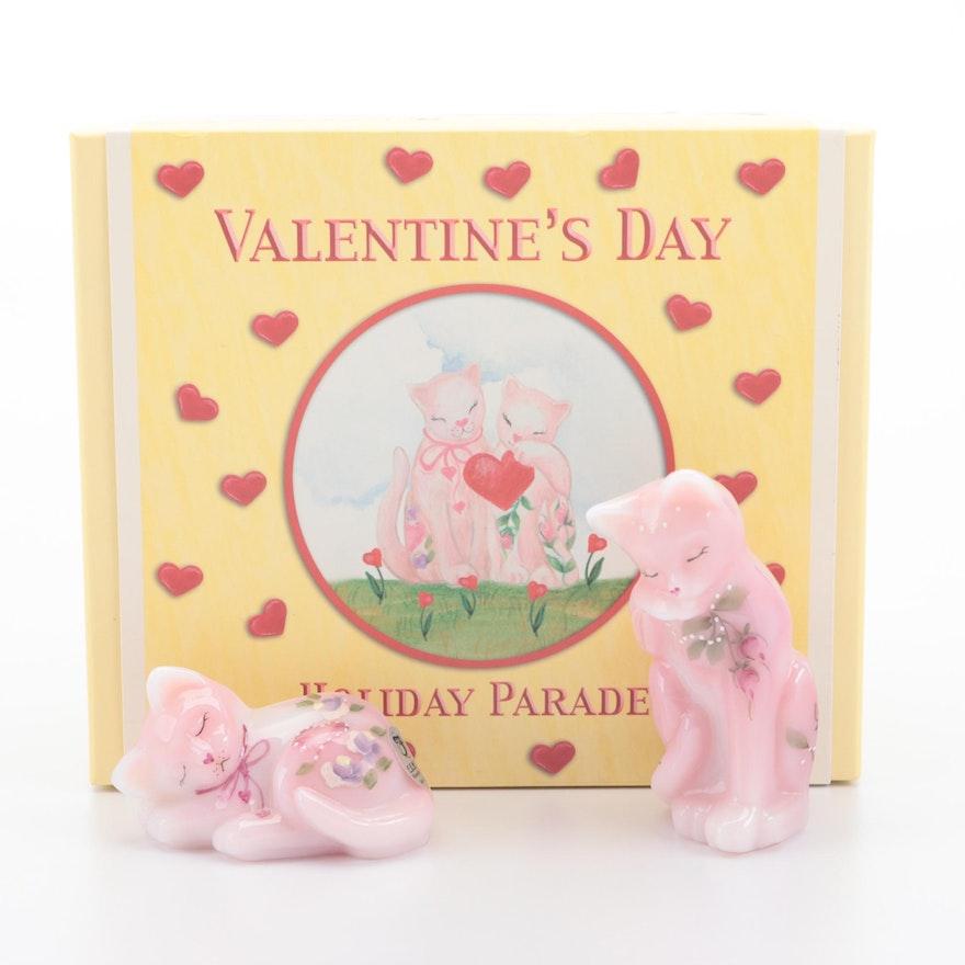 Fenton Valentine's Day Art Glass Cat Figurines