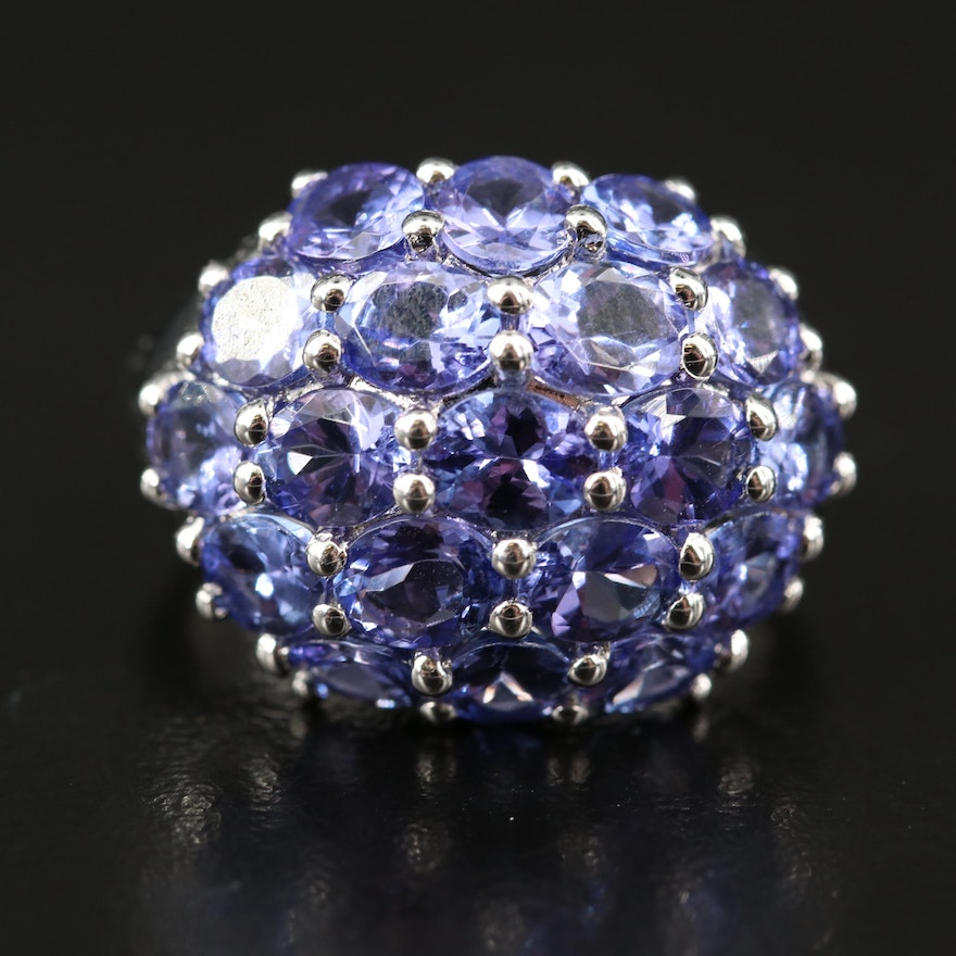Sterling Tanzanite Cluster Dome Ring