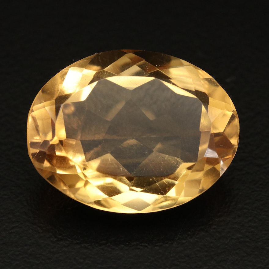 Loose 22.67 CT Oval Faceted Citrine