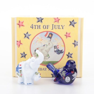 """Fenton """"4th of July Holiday Parade"""" Bird and Elephant Glass Figurines"""