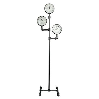 Mercana Industrial Chic Black Pipe Three Face Floor Clock