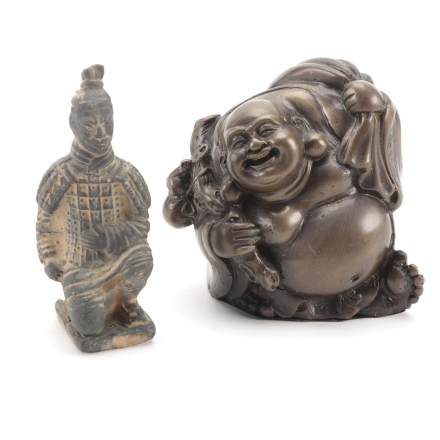 Chinese Terracotta Warrior Figurine with Thai Metal Budai Figurine