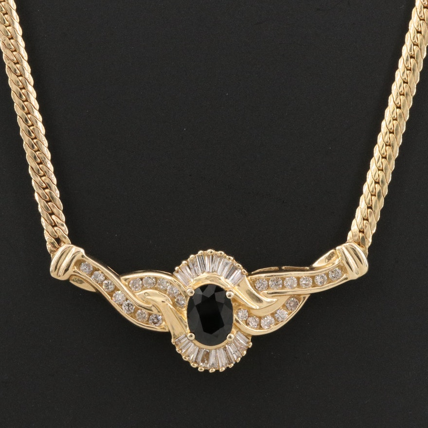 14K 1.70 CTW Sapphire and Diamond Stationary Pendant Necklace