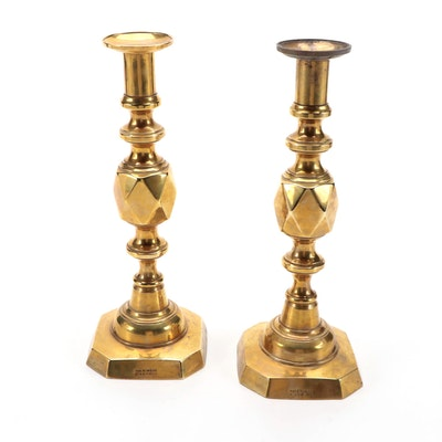 "Victorian ""The King of Diamonds"" Brass Candlesticks"