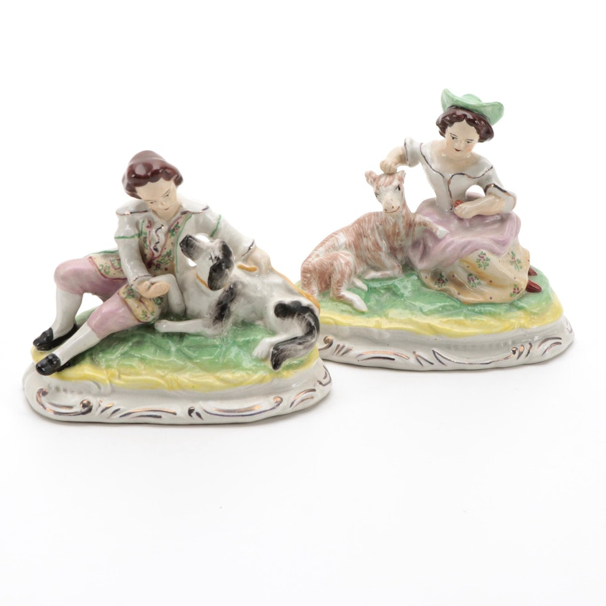 Staffordshire Ware England Shephard and Shephardess Ceramic Figurines