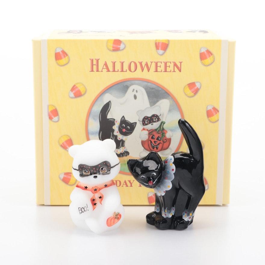 "Fenton ""Bear & Cat Set"" Hand-Painted Halloween Themed Figurines"