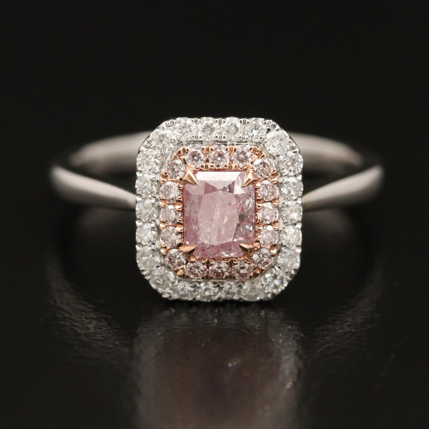 18K Diamond Double Halo Ring with GIA Report