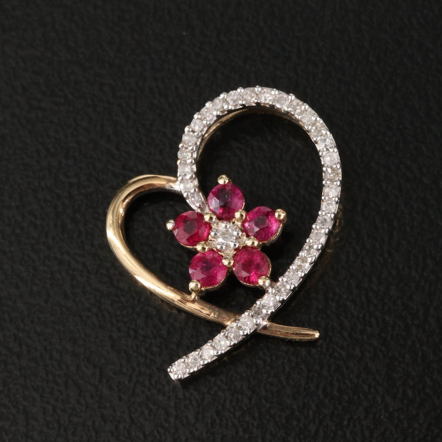 10K Diamond and Ruby Floral Heart Pendant