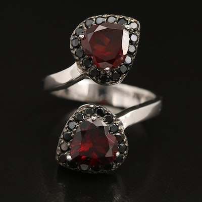 Sterling Silver Garnet and Spinel, Double Heart Bypass Ring
