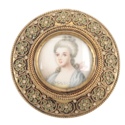 French Cloisonné Enameled Brass Pill Box with 18th Century Portrait