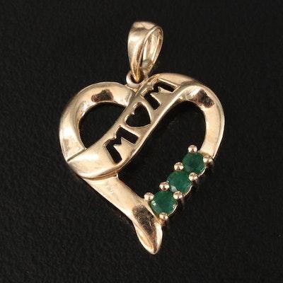"10K Emerald ""MOM"" Heart Pendant"