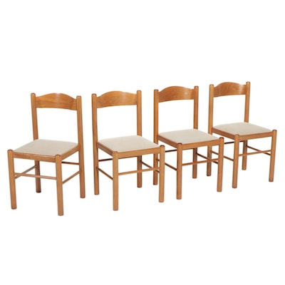 Four Workbench Mid Century Modern Wood Dining Chairs, Late 20th Century