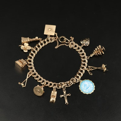 Gold-Filled Charm Bracelet with 14K and Articulated Charms