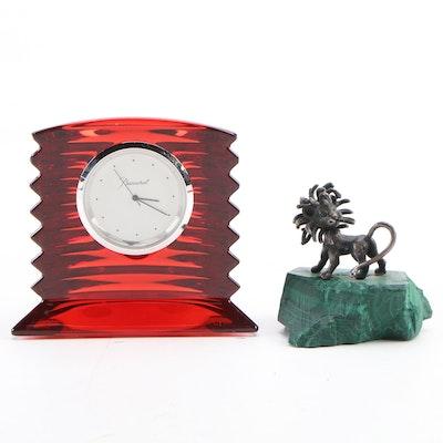 "Baccarat ""Lalande"" Crystal Clock with J. Schwabe Lion Figurine"