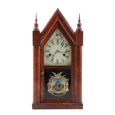 Gilbert Mfg. Co. Mahogany Mantel Clock with Reverse Painted Glass Front