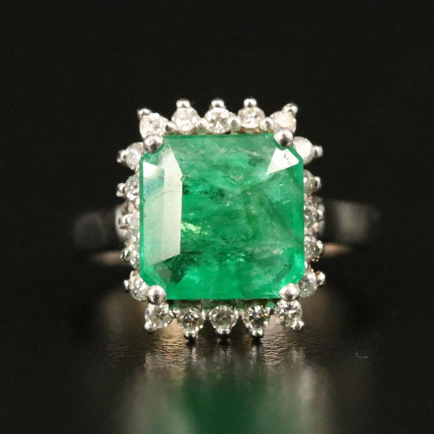14K 3.26 CTW Emerald and Diamond Halo Ring