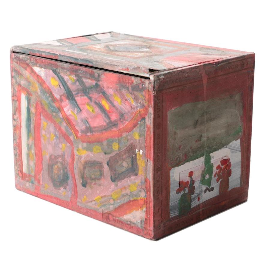 Robert Wright Folk Art Acrylic Painted Cigar Box, Late 20th Century