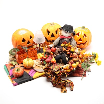 Halloween and Fall Decorations Including Wreath and Pumpkins