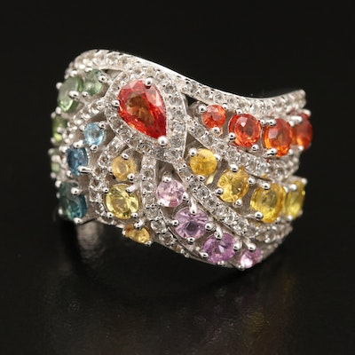 Sterling Sapphire, Zircon and Topaz Cluster Ring