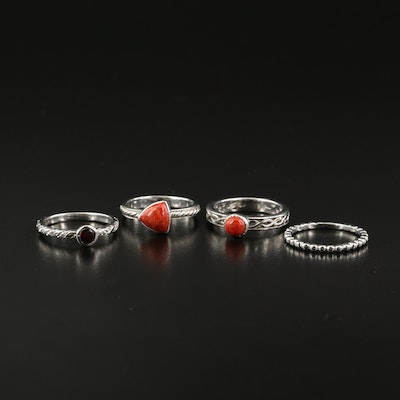 Sterling Rings Including Coral and Garnet