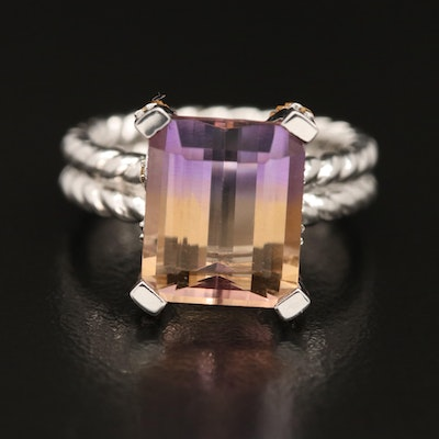 Sterling Ametrine and Citrine Ring with Braided Detail