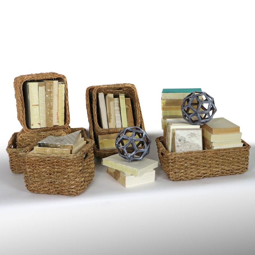 Storage Baskets, Decorative Books, and Mixed Metal Sculptures