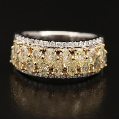 18K 2.01 CTW Yellow Diamond and Diamond Band