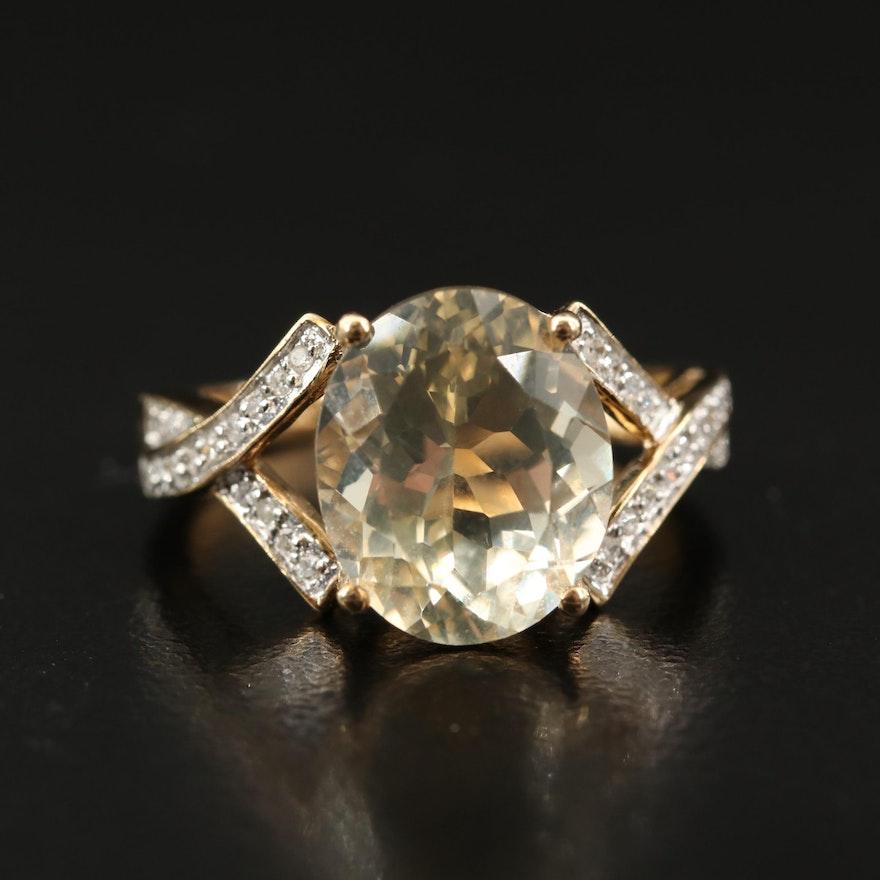 10K Feldspar and Diamond Ring