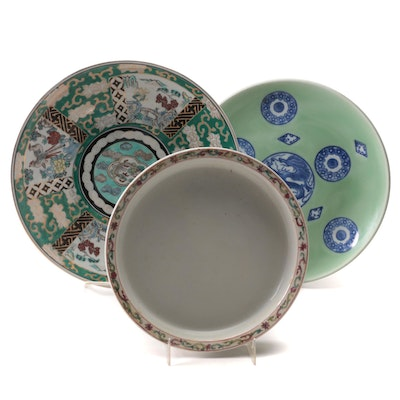 Chinese Celadon Plate, Japanese Hand-Painted Plate and Other Bowl