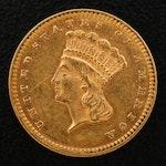 1876 Indian Princess Head $1 Gold Coin