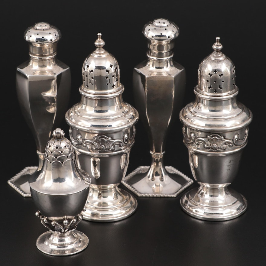 Gorham, Duhme and Co, and Danish Sterling Silver Shakers, Mid-20th Century