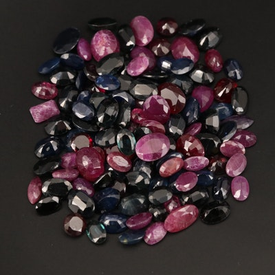 Loose 100.32 CTW Mixed Faceted Ruby, Sapphire and Garnet