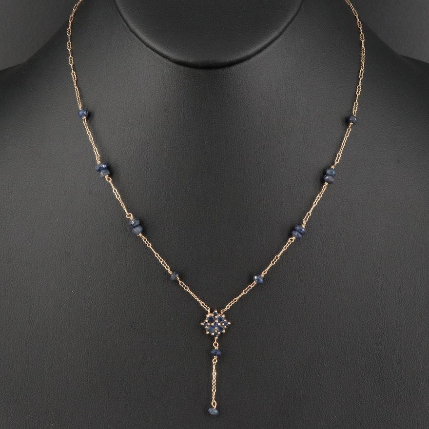 10K Sapphire Y Necklace