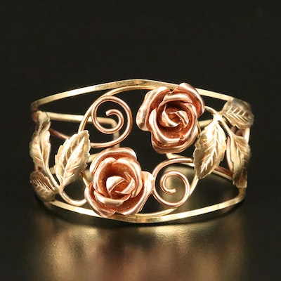 Flower and Leaves Cuff with Scrolling Accents