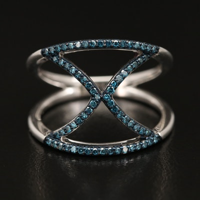 Sterling Silver Diamond 'X' Ring