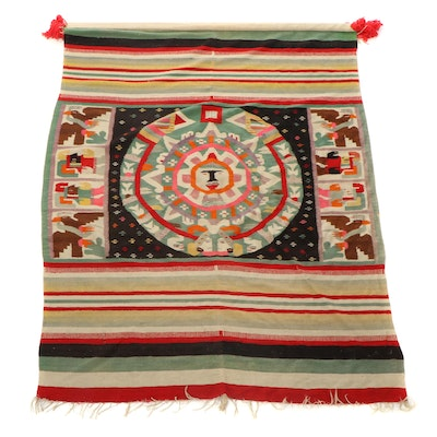 Mexican Handwoven Tapestry Wall Hanging of Aztec Calendar