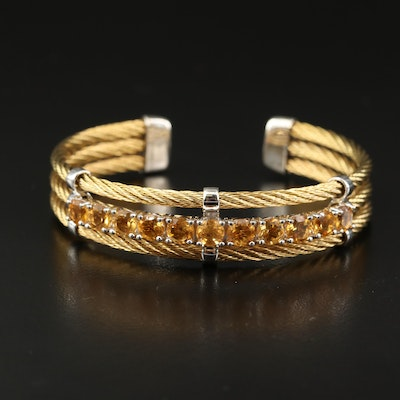 Stainless Steel Cubic Zirconia Triple Row Cable Cuff with Sterling Accents