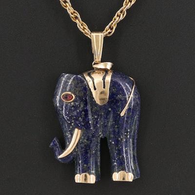 14K Lapis Lazuli and Ruby Elephant Pendant on Singapore Chain Necklace