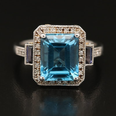 Sterling Silver Topaz, Iolite and Diamond Ring