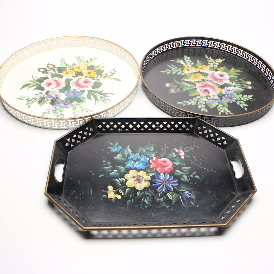 Hand Painted Tin Serving Trays with Floral Motif