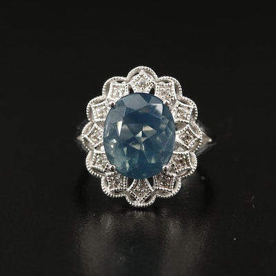 Sterling Opal and Topaz Ring with Scallop Detail
