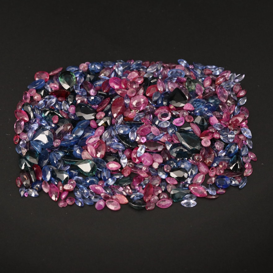 Loose 102.50 CTW Mixed Faceted Sapphire, Ruby and Garnet