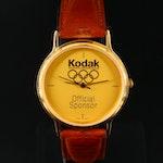 Kodak Olympic Games Gold Tone Quartz Wristwatch