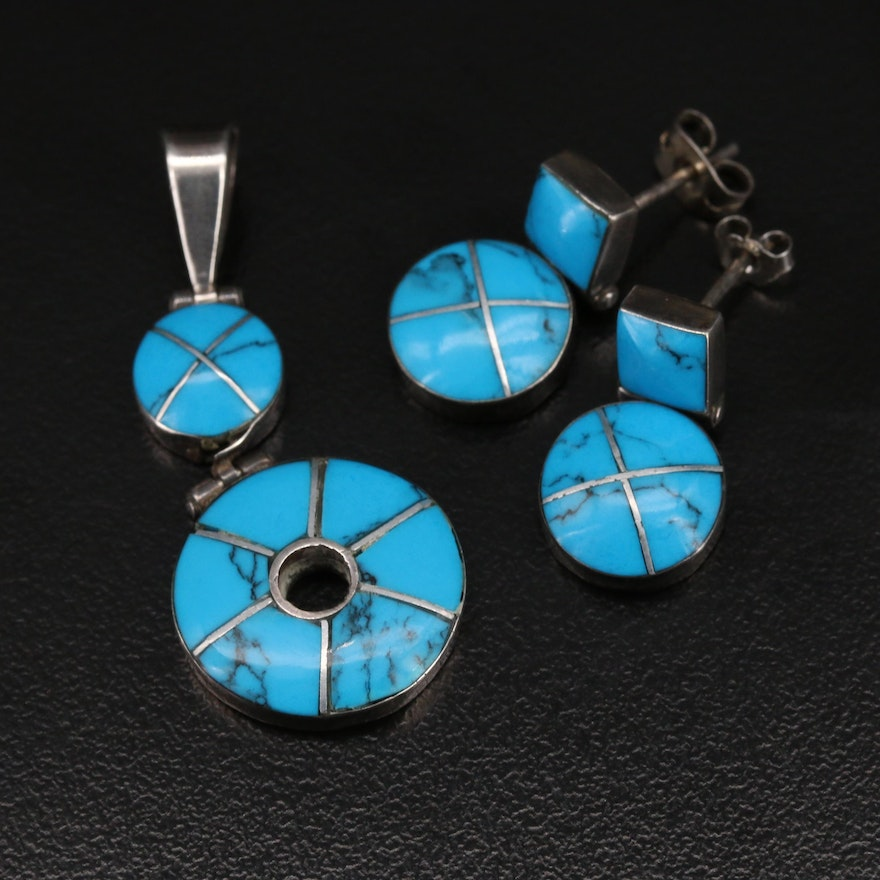 E. Lunas 950 Silver Turquoise Inlay Pendant and Earring Set