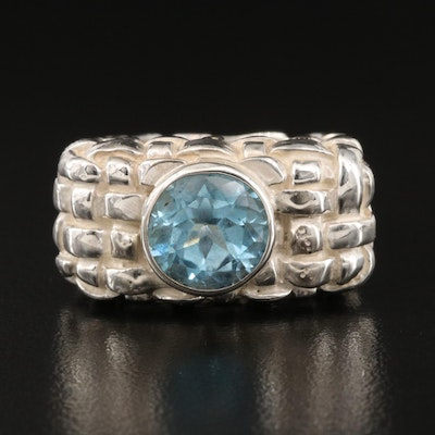 Diane Malouf Sterling Sky Blue Topaz Ring with Woven Detail